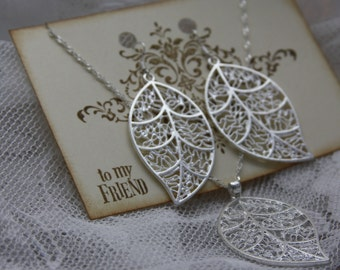 Sterling Silver Intricate Filigree Leaves Jewelry Set - Earrings and Necklace - Jewelry Tag