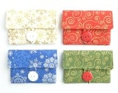 white snowflake gift card holder. cute white womens cardholder. cotton holiday card case fabric. small gift her
