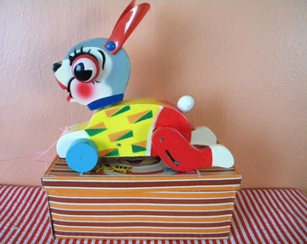 Vintage Bunny Rabbit Wooden Pull Toy in Original Box Japan