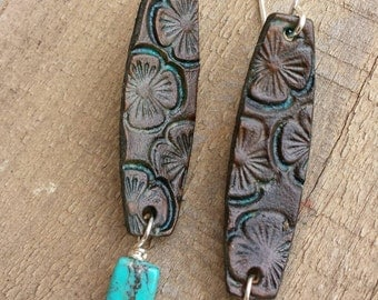 Hand Tooled Leather Earrings  - Floral Earrings - Dark Brown Leather - Turquoise - Silver Earrings - Western Jewelry - Cowgirl Jewelry