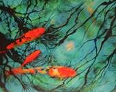 Moonlight swim,16x20, Koi art, Original, mixed media photograph, teal and orange art, fish, moon reflection, modern, colorful art