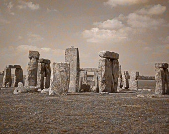 Stonehenge Print, England Decor, Salisbury Plain, Fine Art Photo, Sepia Photograph, Stone Henge, Art Print, Wall Decor, Office Decor