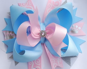 over the top layered light BLUE and PINK PRINCESS hair bow clip