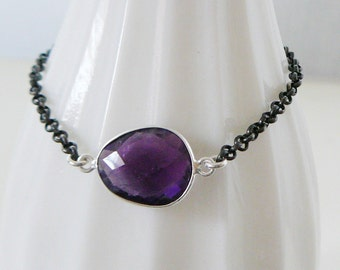 Amethyst Gemstone Bracelet, Sterling Silver Jewelry oxidized faceted friendship layering bracelets