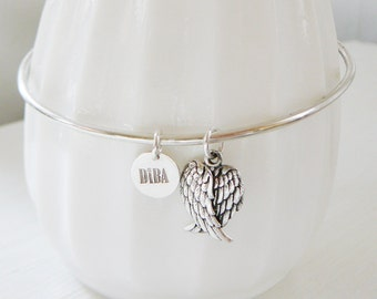 Sterling Silver Bangle Charm Bracelet Angel Wing Layering stacking friendship personalized bracelet