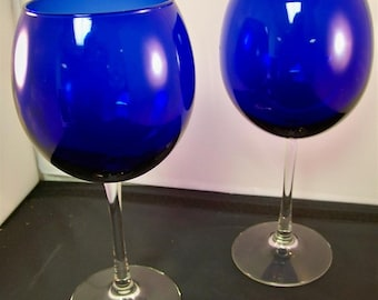 Pr Cobalt Very Large Balloon Wine Glasses Clear Stems