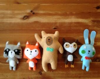 Woodland Felt Stuffed Critters-  Set of 5, Woodland Animal Nursery Theme, Woodland Birthday, Woodland Baby Shower, Felt Woodland Animals