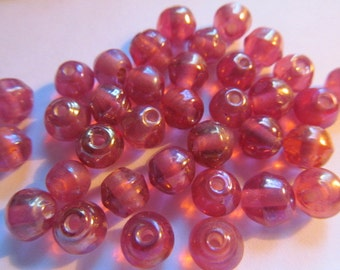 Vintage Glass Beads (16) Pink Gold Luster Rustic Beads