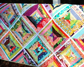 "Modern Baby Quilt, String  Quilt, Toddler Blanket, Baby Shower Gift, Heirloom, Lap Quilt, 42.5"" x 42.5"" Child Play Mat"