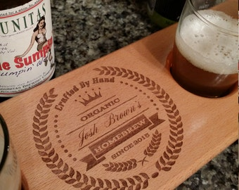 Personalized Beer Flight - Paddle, Caddy,  Tasting Board - Gifts for Men - Groomsmen Bridesmaid - Nerd - Man Cave