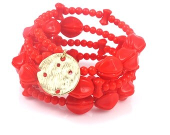 Vintage Red Beaded Wrap Bracelet, Red Bracelet, Beaded Wrap Bracelet