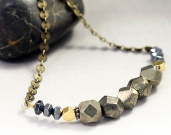 Geometric Pyrite Necklace - Beaded Gemstone Strand Necklace