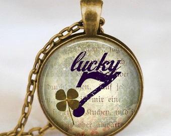 Lucky Seven pendant , Luck clover leaf necklace  , good luck jewelry , lucky 7 necklace , clover necklace, saint patrick's day jewelry
