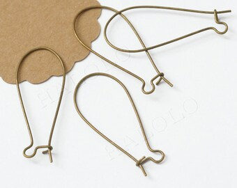 20pcs large antique  brass finish long drop kidney earwire 38mm (0231)