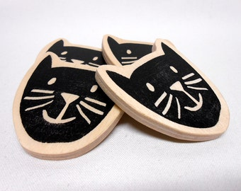 Black Cat Face Magnet Hand-Stamped on Wood