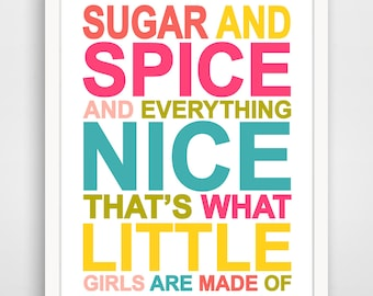 Children's Wall Art / Nursery Decor Sugar and Spice and Everything Nice... print by Finny and Zook