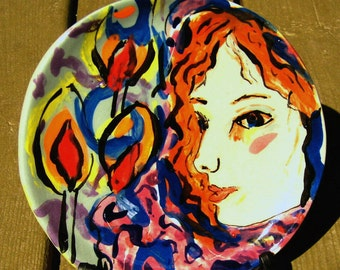 ceramic plate small round figurative plate woman  candles religious Judaica  Hanukah brown red blue