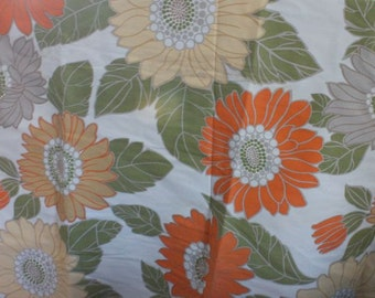 FABRIC - STRETCH - FLORAL - orange - yellow - green - sunflowers - 54 x 108 - 3 yards