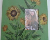 "Sunflower Picture Frame Painted Sunflower Canvas Picture Frame 12"" x 12 "" Stretched Canvas Sunflower Photo Frame"