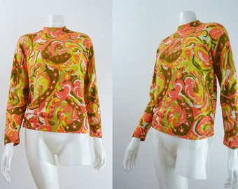 Vintage Psychedelic Sweater 70s Print Watercolor Paisley Neon Screenprint 1970s Top