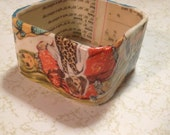 Vintage 1970's Velvet and Crissy Doll Pattern Bangle Bracelet Collage OOAK FREE shipping in the USA