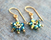 Aqua Gold Swarovski Crystal Beaded Star 14KT Gold Filled Handmade Earrings