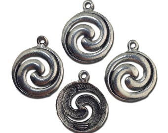Silver Plated Spiral Design Charm / Pendents 28x24mm (4) gyb032A