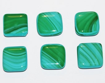 6 Two Tone Green Handmade Fused Glass Magnets