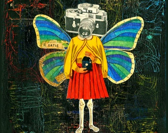 Butterfly Girl Collage Art Print // Surreal Home Decor