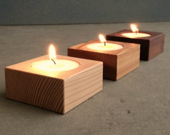 Modern Home Accent Candles, Home Decor Square Contemporary Wood Tea Lights, Candle Decor, Candle Gift Set of Three with White Tea Lights