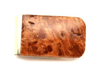 Handmade Wood Money Clip Big Leaf Maple Burl Wood