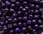 Violet Wooden Beads - Over 100 - 8mm Glossy Purple Wood Beads (WBD0030)