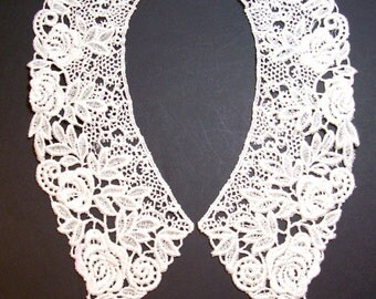 Lace Collar, Ivory Venice Lace Applique Collar Set of 2 Pieces