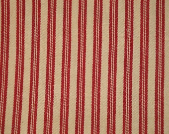 Coffee Dyed Red Ticking Material | Cotton Ticking Material Coffee Dyed | 1 Yard