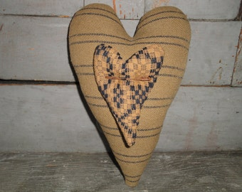 Primitive Cloth Heart | Coverlet Heart  | Striped Heart | Ticking Heart | Large Heart