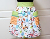 Womens Retro Half Apron, Handmade Modern Chic Cute Kitchen Waist Aprons Bicycle Turquoise Orange Green