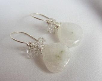 White Earrings - Solar Quartz - Rock Quartz - Sterling Silver Earrings