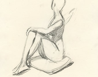 Original Charcoal Life Drawing of Karin, Seated, Twisting