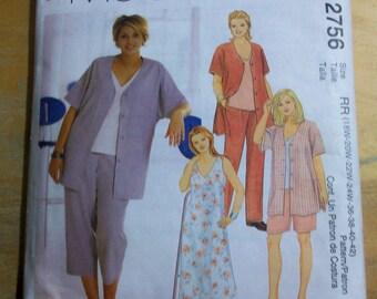 McCalls 2756 womens plus size  jacket, top, dress, pants  sewing pattern