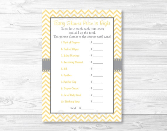 """Yellow Chevron Printable Baby Shower /""""Baby Word Scramble/"""" Game Cards"""