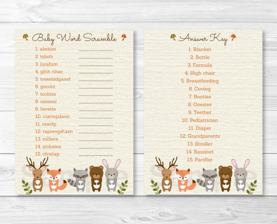Woodland Forest Animal Baby Word Scramble / Baby Shower ...