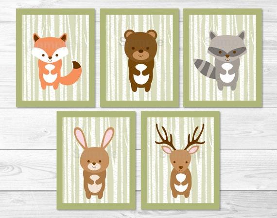 Woodland Forest Animal Nursery Wall Art Woodland Animal