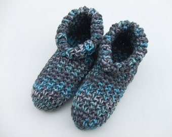 Crocheted Womens Slipper, House Shoes,Cozy Warm,Dark Gray Multi, Sizes 4-13,You Pick Size, Ready to Ship, Other Colors Available in My Shop
