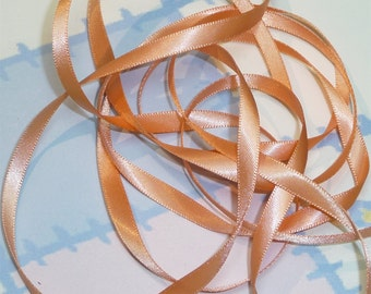 PEACH DouBLe FaCeD SaTiN RiBBoN, Polyester 1/4 inch wide, 5 Yards