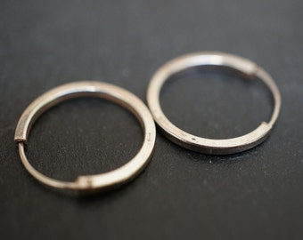 Large Endless Sweet and Simple 925 Sterling Silver Small Hoop (Straight Edge) 16mm Earrings