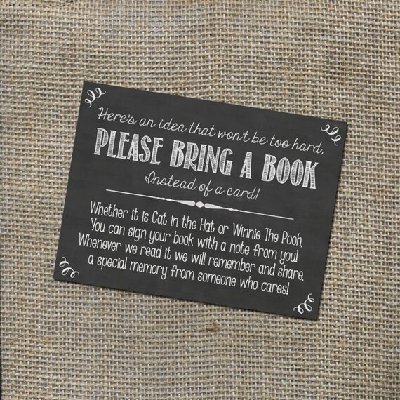Please Bring a Book Instead of a Card Insert for by ...