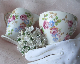 Vintage Royal Stafford English Bone China Pink Blue Floral Cream and Sugar Set
