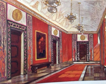 1923 antique vintage print- architectural interior rendering - Max Lutz