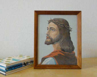 Vintage Jesus with Crown of Thorns Paint By Number Painting - Framed