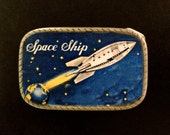 Spaceship Rocket interchangeable Mens Womens belt buckle. Recycled rubber snap belts available.  Great gift for hard to buy man!  Handmade.